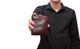 钱包在男性手上 库存照片