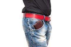 钱包在男性手上 库存图片