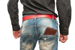 钱包在男性手上 免版税库存照片