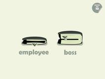 钱包在雇员和上司之间的金钱比较 库存图片