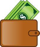 钱包有很多金钱平的动画片例证 库存例证
