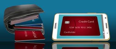 钱包,与信用卡的油脂在手机的信用卡旁边显示 说明如何通过投入他们摆脱卡片 向量例证