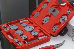 钳子和特别轮尺集合工具 免版税库存照片