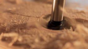 钻子机器钻木头 股票视频