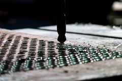 钻子铁在工厂 免版税库存图片