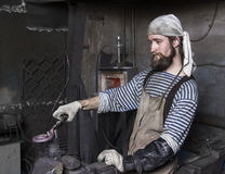 铁匠` s工作,高热金属 图库摄影