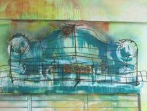 铁和油漆再生产的汽车 皇族释放例证
