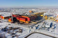 铁和钢铁生产厂电炉商店  库存照片