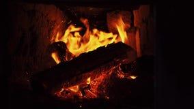铁啤牌混乱和刺在壁炉的灼烧的木柴 股票视频