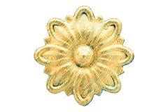 铁在金子绘的伪造的花 葡萄酒金属装饰元素 减速火箭的样式金属装饰品 查出在白色 库存图片