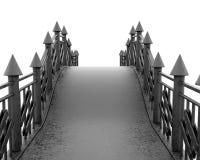 铁步行桥正面在白色背景 免版税图库摄影