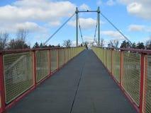 铁河上的桥的建筑在欧洲midle的深森林里  免版税库存图片