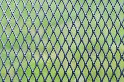 铁滤网结构的特写镜头照片与绿色草坪的Th的 免版税库存图片