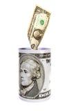 以铁瓶子的形式Moneybox有图象的没有100的美元 免版税库存图片