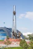 铁米尔套,哈萨克斯坦-在2016年8月13日前:对金属的纪念碑 免版税库存图片