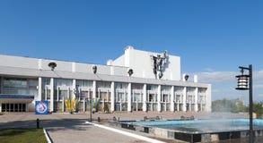 铁米尔套,哈萨克斯坦- 2016年8月13日:劳动人民文化宫见面 库存图片