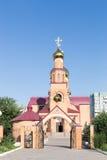 铁米尔套,哈萨克斯坦- 2016年8月13日:圣尼古拉斯大教堂 免版税图库摄影