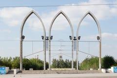 铁米尔套,哈萨克斯坦- 2016年8月13日:在入口的曲拱 库存图片