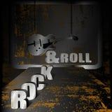 铁背景音乐和吉他在链子 图库摄影