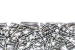 铁螺丝、木螺丝和螺栓的大收藏有自由空间的在上半方 库存图片