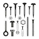 铁螺栓、坚果,螺丝和其他的单色例证硬件工具 皇族释放例证