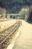 铁路、动臂信号机和隧道在一个火车站 免版税库存照片