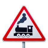 铁路交叉的标志没有在白色隔绝的障碍的 库存照片
