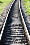 铁路交叉线在农村的泰国 免版税库存图片