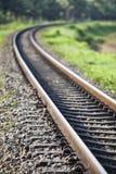 铁路交叉线在农村的泰国 库存图片
