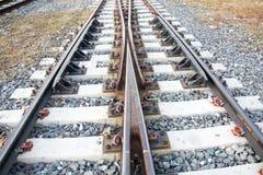 铁路交叉线在农村的泰国 库存照片