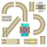 铁路传染媒介铁轨顶视图弯曲的路平直的路轨或方式与铁路桥隧道和栏杆集合 库存图片