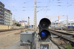 铁路信号灯 免版税库存照片