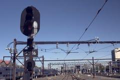 铁路信号 库存照片