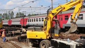 铁路修理  Leningradsky火车站和乘客--是莫斯科,俄罗斯的九个主要火车站之一 影视素材