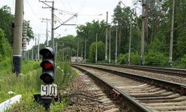 铁路光 免版税库存照片
