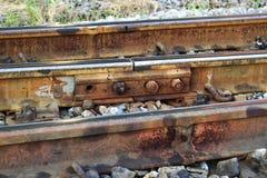 铁路和六方形螺母 免版税库存图片