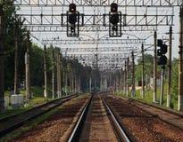 铁路和培训 免版税库存图片
