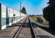 铁路和蓝天 库存照片