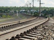 铁路在乡下 图库摄影