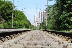 铁路在春天森林城市背景 铁路美好的风景在夏天森林里 库存图片