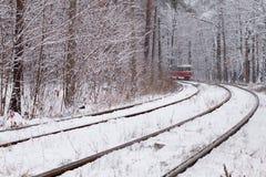 铁路在森林里 免版税库存图片