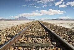 铁路在沙漠 免版税库存图片