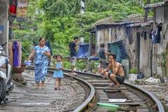 铁路在河内,越南 免版税库存照片