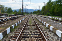 铁路小的岗位 免版税库存图片