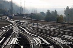 铁路排序的岗位 免版税图库摄影
