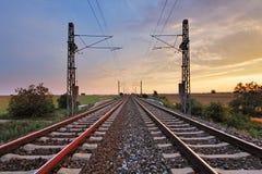 铁路日落 库存照片