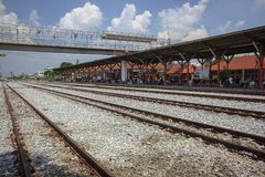 铁路是运输的物品和乘客一条路线 库存照片