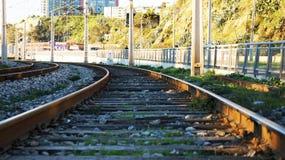铁路曲线弯道火车 库存图片