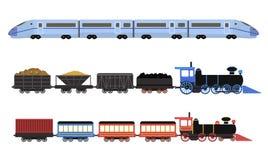 铁路机车、乘客无盖货车和速度火车的汇集 库存照片