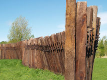 铁路枕木老铁路墙壁 库存图片